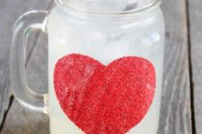 DIY jar mug with a red glitter heart for Valentine's Day