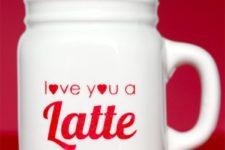 DIY Love You A Latte mug with porcelain paints
