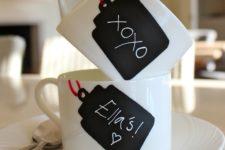 DIY chalkboard tag mugs for Valentine's Day