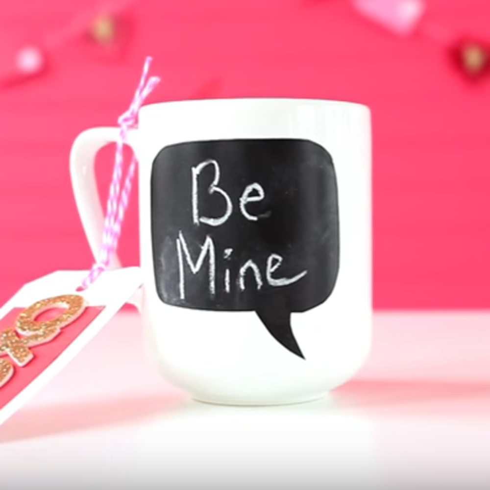 DIY Valentine's Day mug with a chalkboard part