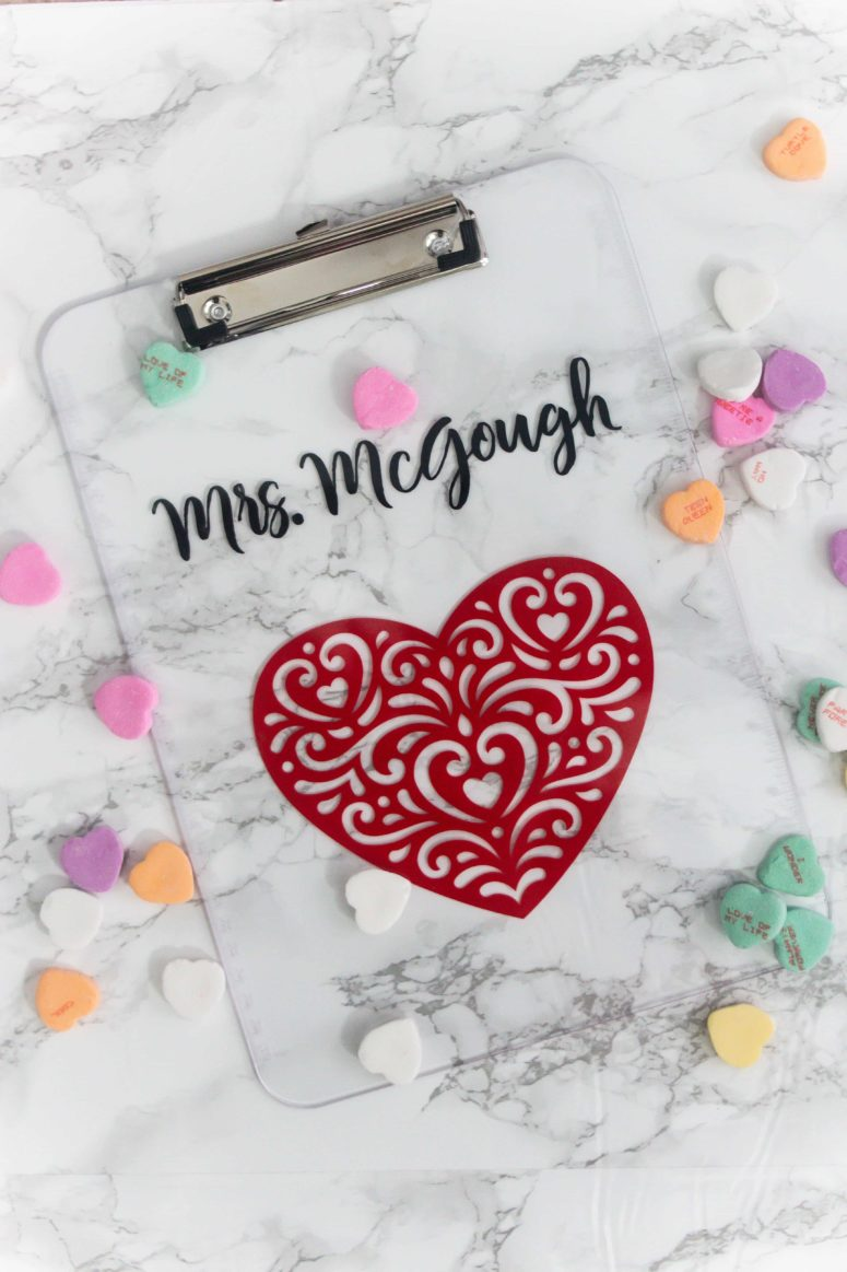 DIY personalized clear acrylic clipboard for a teacher (via refashionablylate.com)