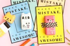 DIY Valentine's Day teacher eraser gift