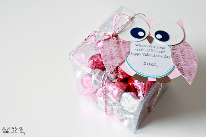 DIY owl Valentine's Day teacher gift with candies (via justagirlandherblog.com)