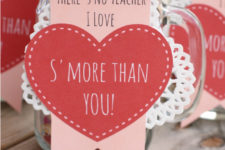 DIY s'mores Valentine's Day gift with a cute tag