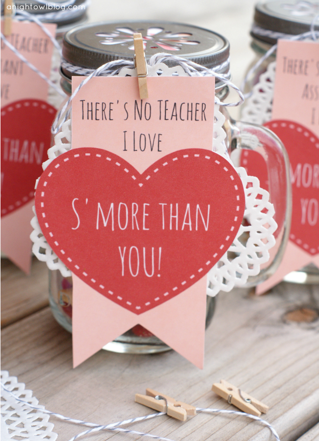 DIY s'mores Valentine's Day gift with a cute tag (via www.anightowlblog.com)