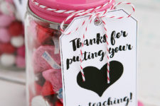 DIY candy jars with cute tags for Valentine's Day