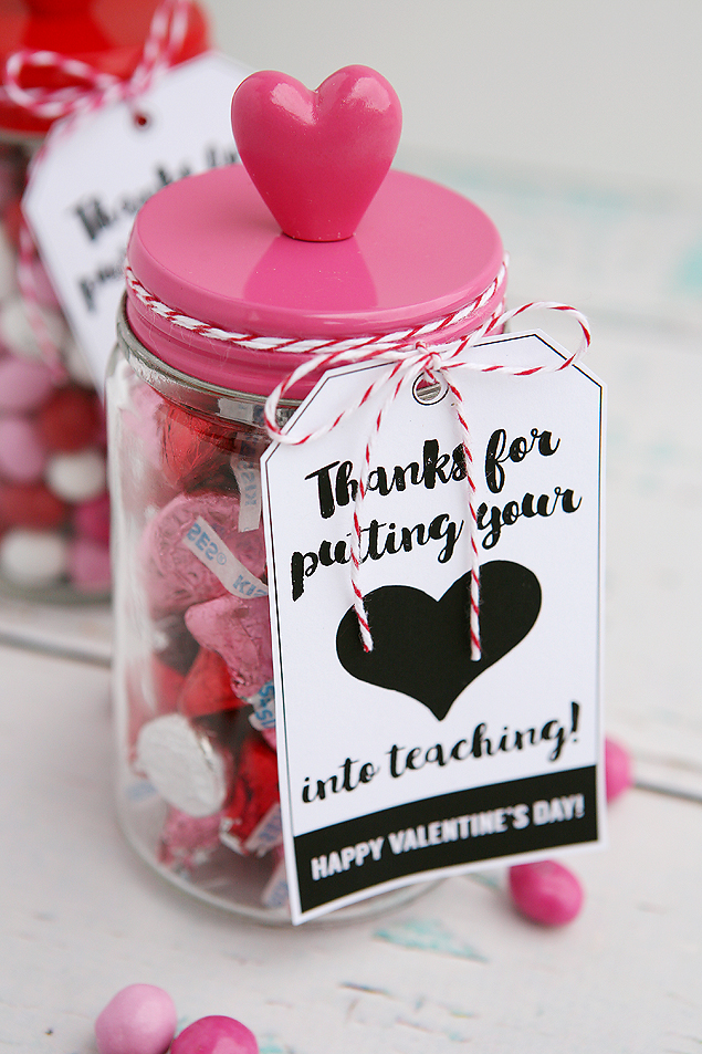 DIY candy jars with cute tags for Valentine's Day (via eighteen25.com)