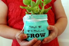 DIY succulent in a jar gift for Valentine's Day