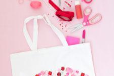 DIY bedazzled Valentine tote bag