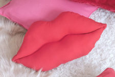 DIY red lips pillow for Valentine's Day