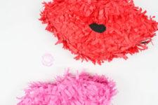 DIY colorful Valentine lip pinatas
