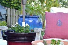 DIY sturdy planter umbrella stand of concrete