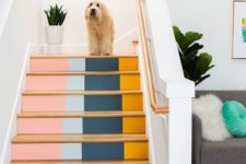 02 a bright color block staircase will give much color to the space and hint on the mid-century modern style