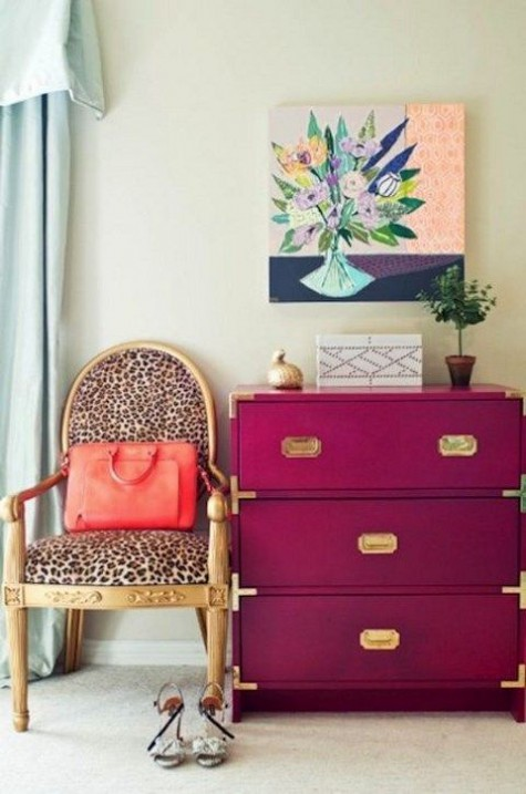 a bright fuchsia IKEA Rast hack with gold touches is an ultimate piece for a glam or just feminine space