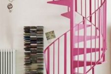 03 a bright pink metal spiral staircase is a cool color statement that nobody expects to see in your home