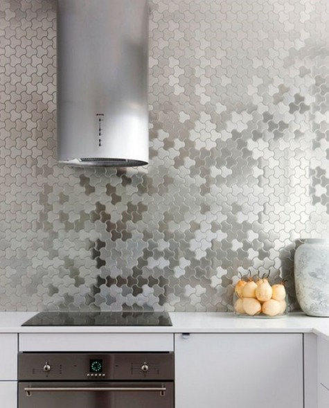 silver tiles with a catchy geometric shape will bring an ultimately contemporary touch to the space