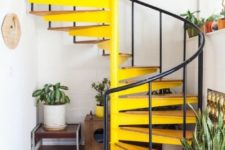 04 a bright yellow staircase is a touch of sunshine to any space, get inspired to give a good mood to the space