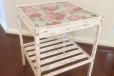 04 a distressed IKEA Nesna table with vintage floral wallpaper under the glass for a shabby chic or vintage interior