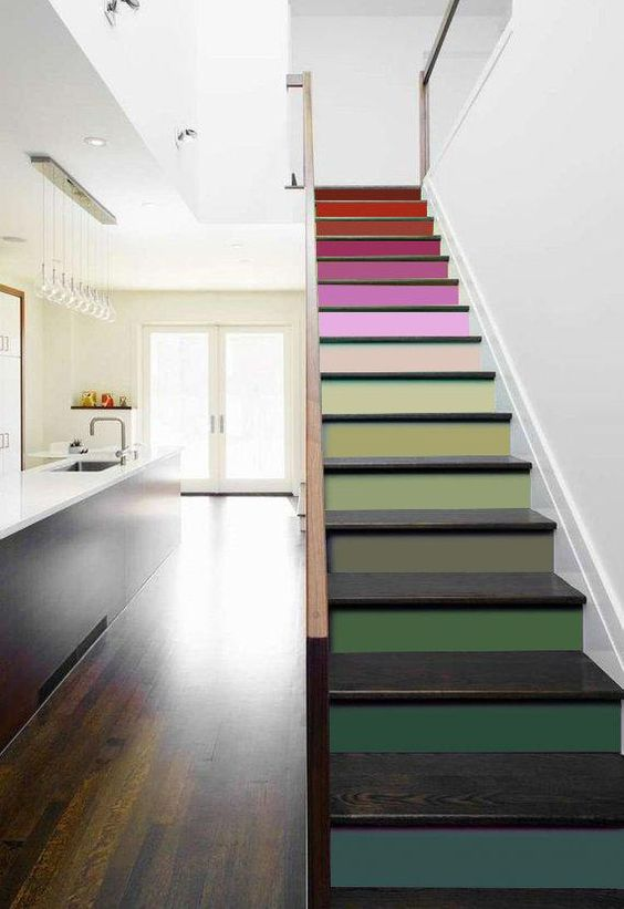 a colorful gradient staircase is a bright and bold idea to add lots of color to your room