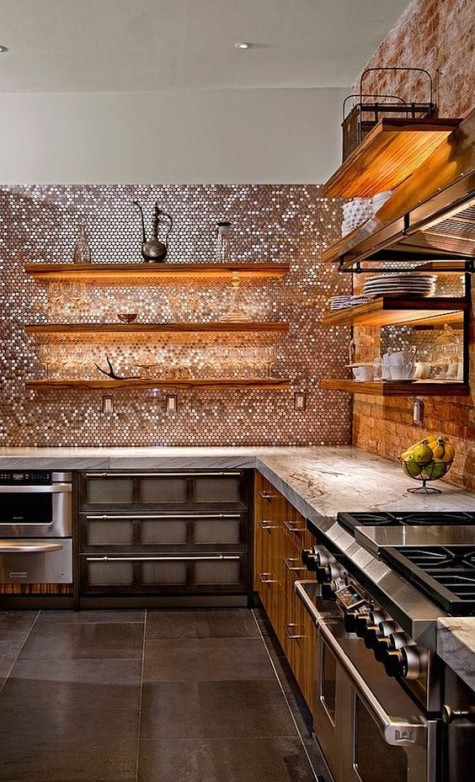 shiny copper penny tiles to make a statement wall in the kitchen and fill it with warm bling