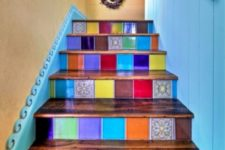 06 a colorful staircase done with super bright tiles – different for each riser to make the space extra bold