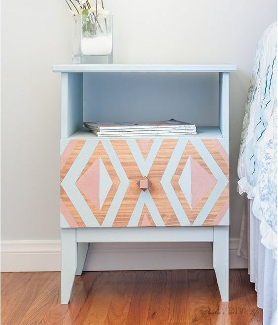 an IKEA Tarva nighstand makeover with bright tribal patterns and in pale blue for a boho space
