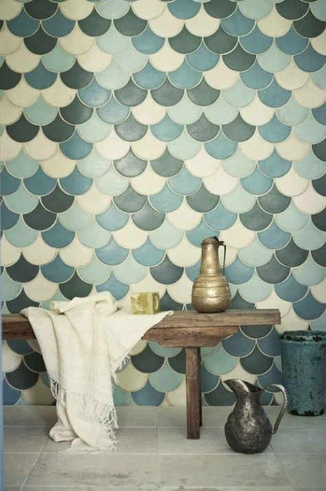 cream, blue, light blue and graphite grey fishscale tiles for a bathroom wall