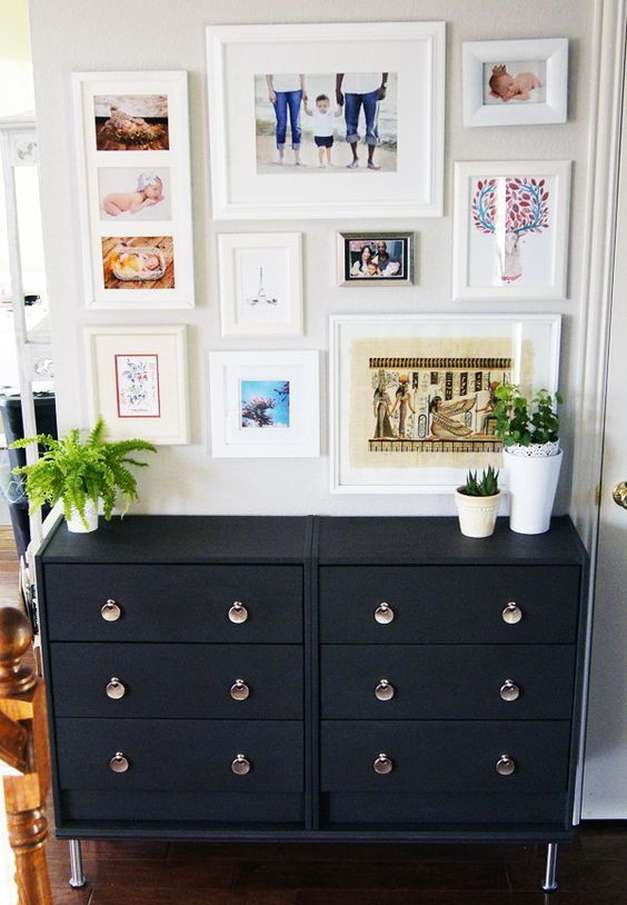 double IKEA Rast dresser in black with whimsy handles and matching legs for a stylish mid-century modern space