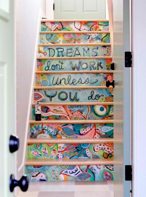 if you are an art-loving person, you may paint the stair risers however your like using various paints, words, images