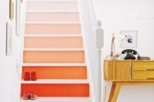 09 a chic ombre staircase in bright shades is a cool idea for a modern and bright space, it adds color