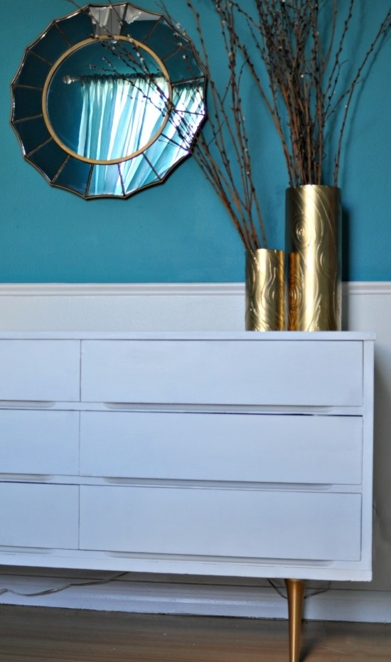 an IKEA Malm dresser hack with tall metal legs and a beautiful shade of blue, which is the color of the year