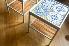10 colorful IKEA Nesna nightstands clad with blue and yellow aulejo tiles on top for a bright touch