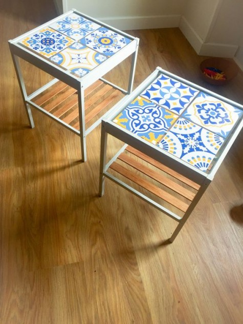 colorful IKEA Nesna nightstands clad with blue and yellow aulejo tiles on top for a bright touch
