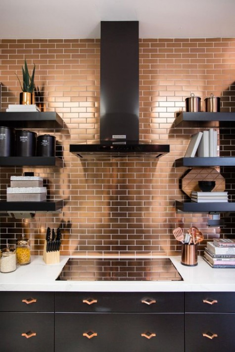 copper tiles with white grout and dark cabinets for a chic and bold look in contemporary style