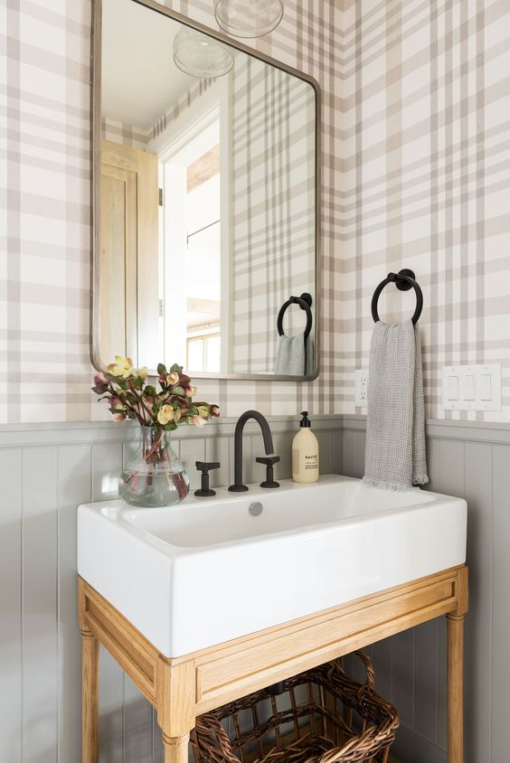 plaid wallpaper in a neutral color scheme will make your space chic, welcoming and very cozy