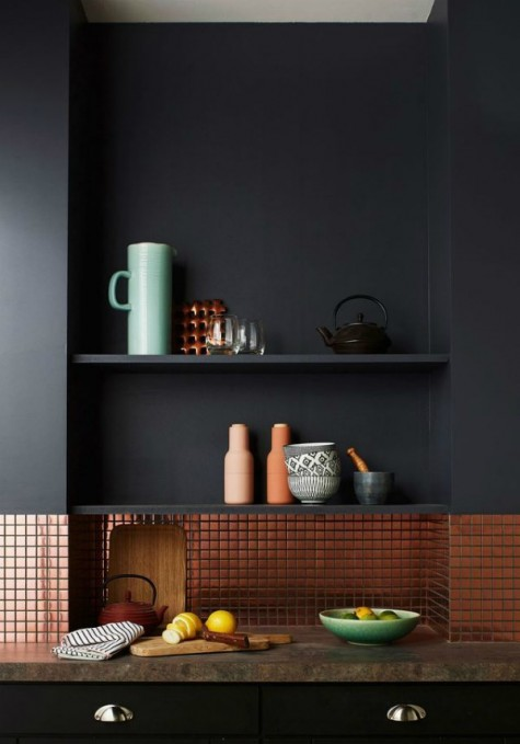 copper tiles contrast minimalist matte black cabinets and add a shiny and super sytlish touch