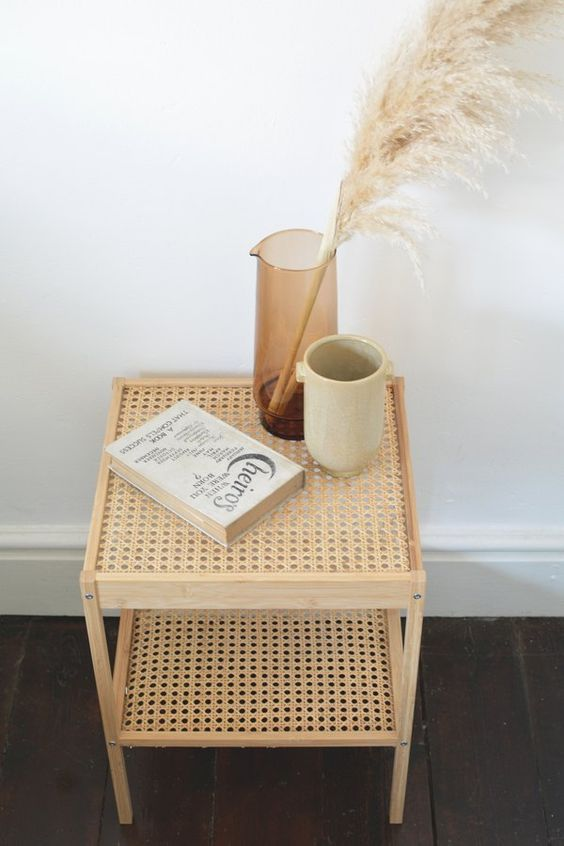 an IKEA Nesna hack with cane screens turns it into a boho chic unit that is very trendy right now