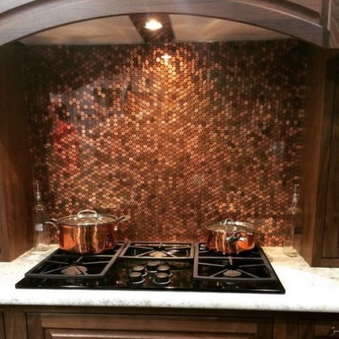 copper penny tiles to cover the backsplash look amazing - penny tiles aren't going anywhere at all