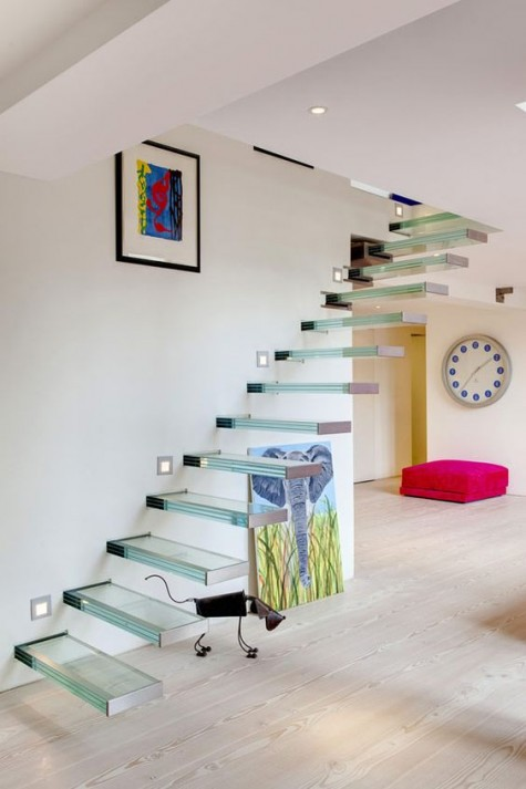 glass floating staircases look even more ethereal and airy than of any others