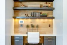 a small built-in home office design