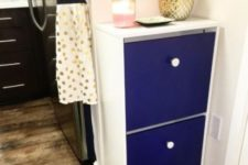 14 a bold IKEA Bissa hack with electric blue fronts and contrasting white knobs for a bold contemporary space