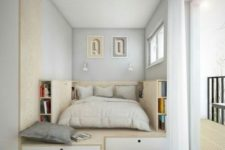 14 a tiny and creative bedroom with a podium with much storage space and a bed placed in it