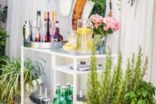 15 a glam outdoor bar made of an IKEA Micke desk is a genius idea that can be implemented indoors, too