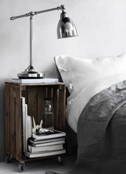 a stained Knagglig box placed on casters as a mobile bedside table that can be moved anywhere you want