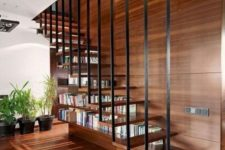 16 a suspended staircase with a bookcase built in is a cool idea for a contemporary living room