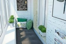 a super small balcony decor with a bench