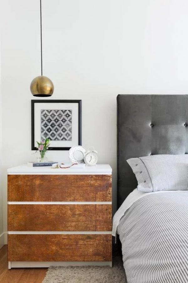 an IKEA Malm dresser hacked with decals that look rust industrial is a bold idea to make a statement