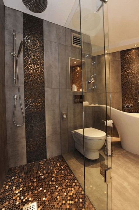 copper penny tiles accent the grey bathroom and give it a luxurious feel, I love the way they bling