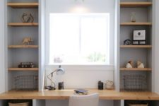 19 a small home office with a fully built-in unit – a desk and open shelves to maximize functionality