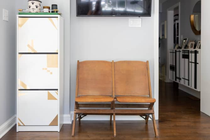 an IKEA Bissa hack with bright geometric gold decals is an easy idea to renovate your piece fast